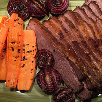 Oksespidsbryst, brisket i grill, opskrift, fremgangsmåde, tilberedning, mad, vin