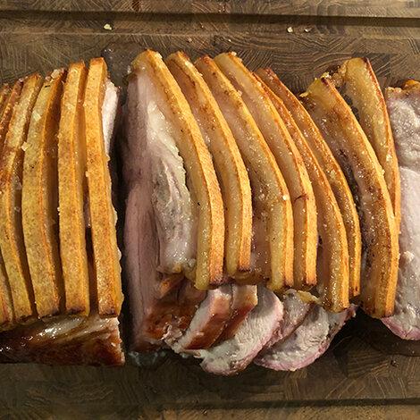 Flæskesteg og kamsteg i grill, grill, opskrift, fremgangsmåde, tilberedning, mad, vin